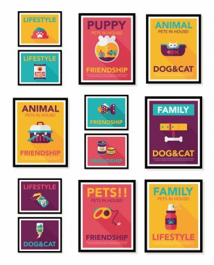 Pet poster flat banner design background set, eps10