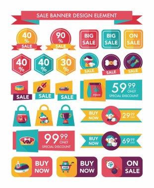 Pet sale banner flat design background set, eps10