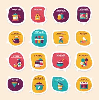 Kitchenware bubble speech flat banner design background set, eps10 clip art vector