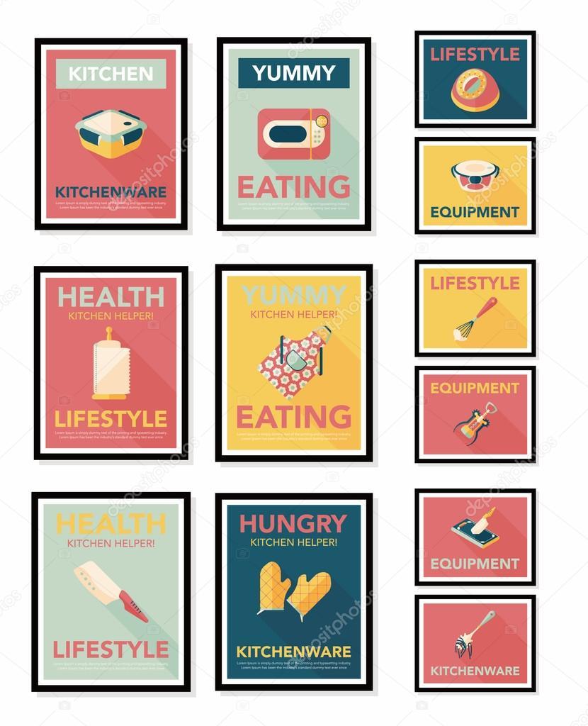 Utensili da cucina poster piatto banner design sfondo piatto fisso ...