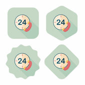 24 hodin zákazník telefonní služby paušální ikona s dlouhý stín, eps10