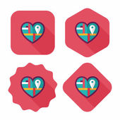 heart shaped wedding invitation flat icon with long shadow,eps10