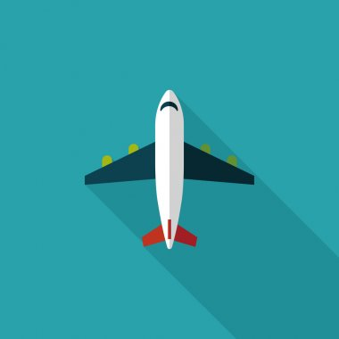 Transportation airplane flat icon with long shadow,eps10