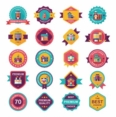 Building badge flat design background set, eps10