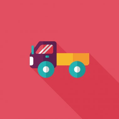 Transportation truck flat icon with long shadow,eps10