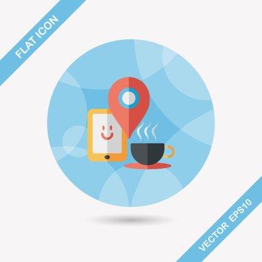 """Картина, постер, плакат, фотообои """"кофе плоский значок с длинной тенью, eps10, когда вы идете на кофе """", артикул 63572383"""