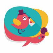 Valentýna milence pták ploché ikony s dlouhý stín, eps10