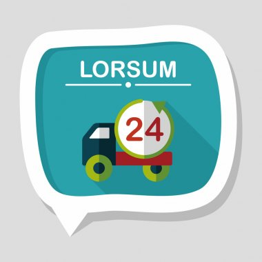 24 hours shopping freight transport flat icon with long shadow,e