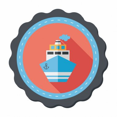 Transportation ship flat icon with long shadow,eps10