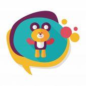 plyšový medvěd plochá ikona s dlouhý stín, eps10