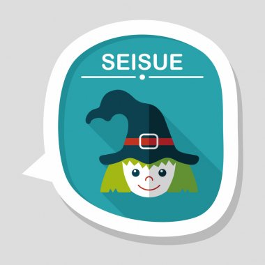 cute witch flat icon with long shadow,eps10
