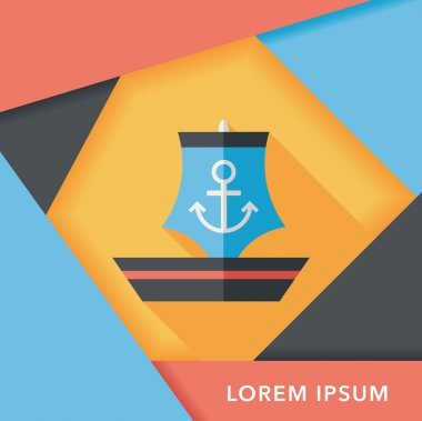 Sailboat flat icon with long shadow,eps10