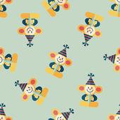 Opice hračka ploché ikony, eps10 vzor bezešvé pozadí