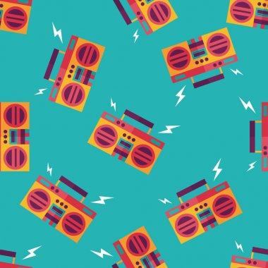 ghetto blaster audio flat icon,eps10 seamless pattern background