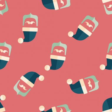 Santa Claus flat icon, eps10 seamless pattern background