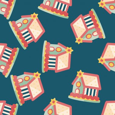 Gingerbread house flat icon,eps10 seamless pattern background