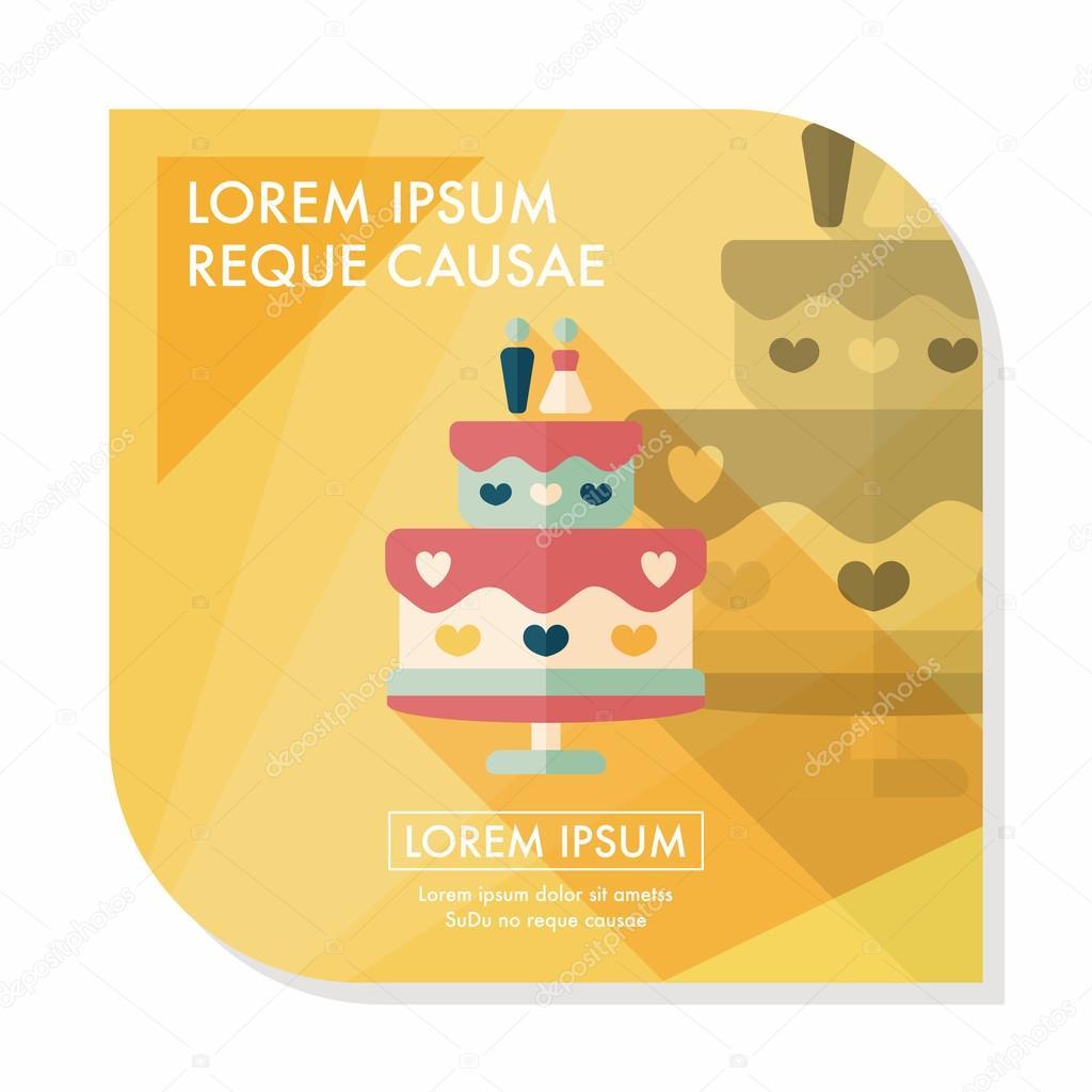 wedding cake flat icon with long shadow,eps10 — Stock Vector ...