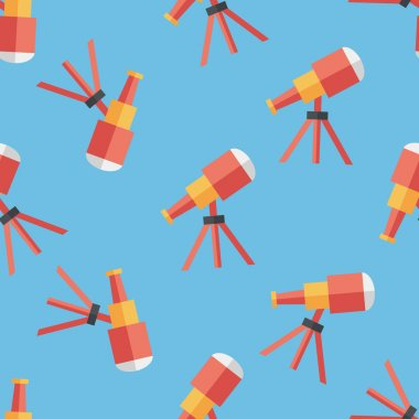 Telescope flat icon,eps10 seamless pattern background