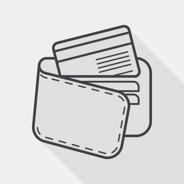 shopping wallet flat icon with long shadow, line icon