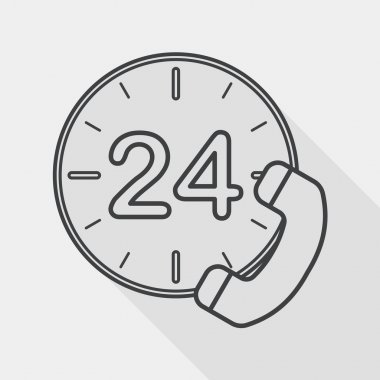 24 hours customer phone service flat icon with long shadow, line icon