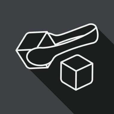 Sugar cubes flat icon with long shadow, line icon