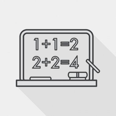blackboard flat icon with long shadow, line icon