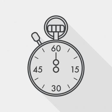 stopwatch flat icon with long shadow, line icon