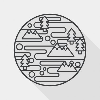 Space planet flat icon with long shadow, line icon