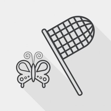 butterfly net flat icon with long shadow, line icon