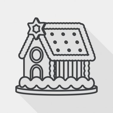 Gingerbread house flat icon with long shadow, line icon