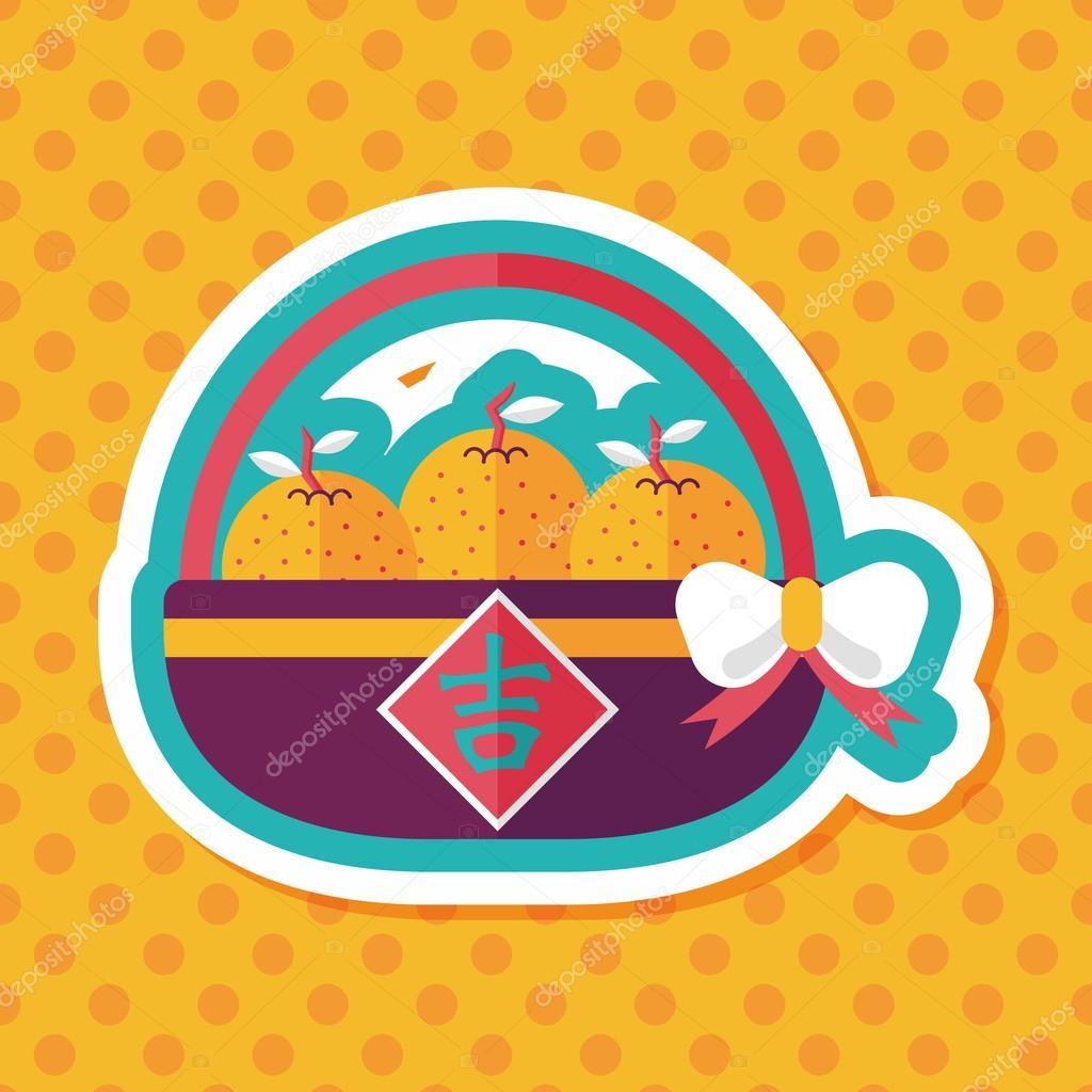 Chinesisches Neujahr Mandarinen flache Icon mit langen Schatten, eps ...