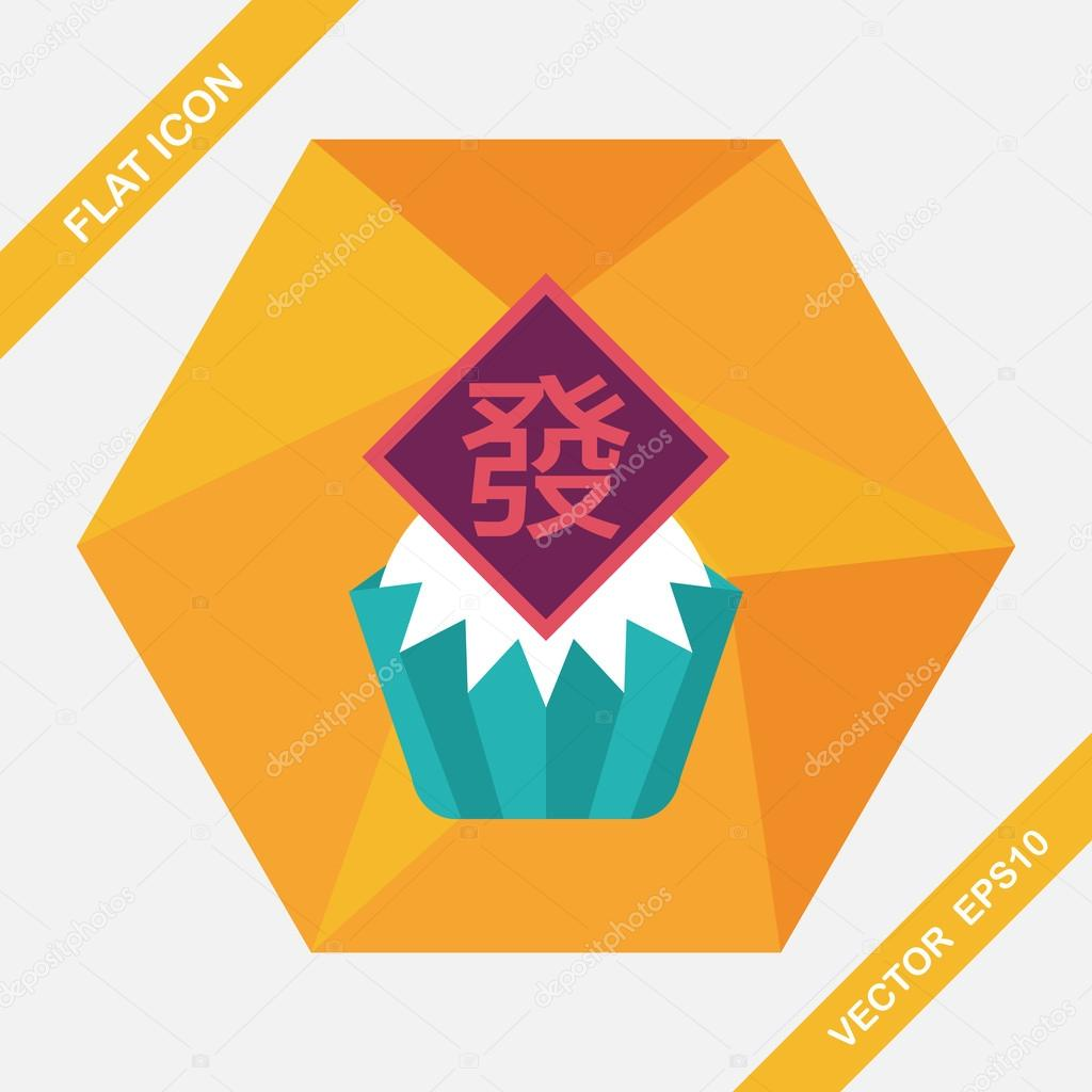Chinesisches Neujahr flache Icon mit langen Schatten, eps10 ...