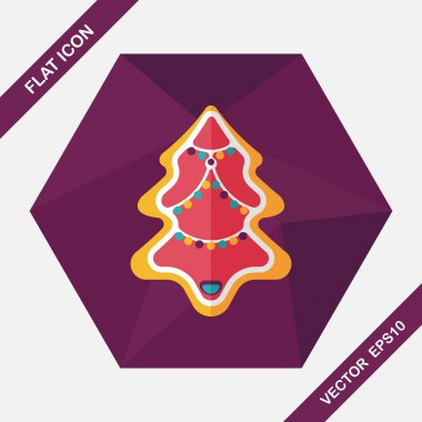 Christmas tree flat icon with long shadow eps10