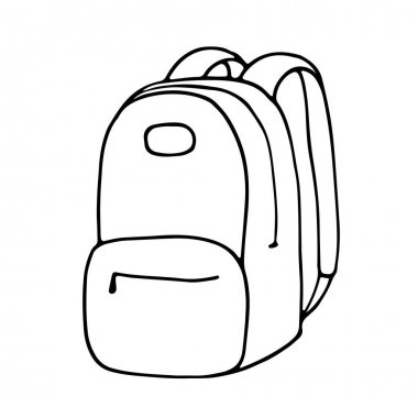 Outline image of a backpack. Hand drawn doodle illustration, black image on white background. Linear art. Vector illustration. icon