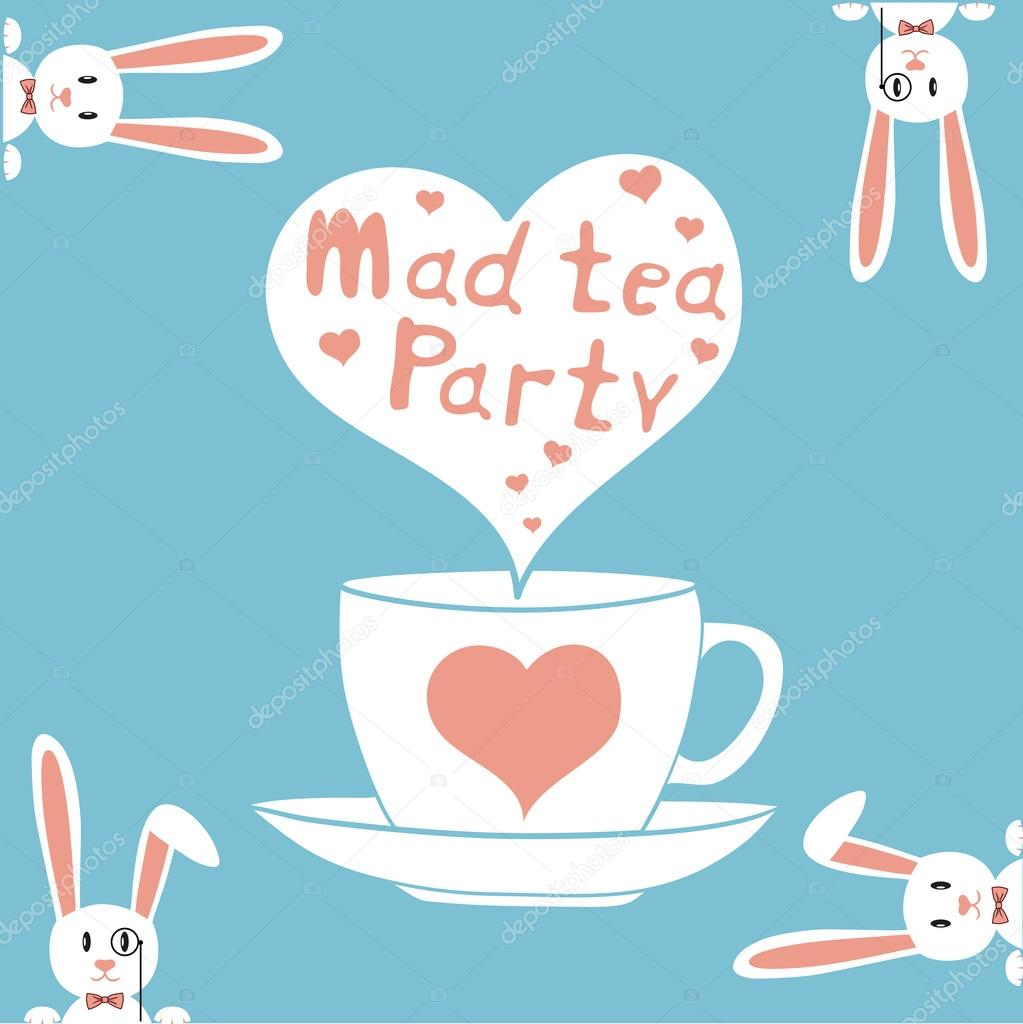 Elegant tea party invitation template with teacups cartoon vector - Mad Tea Party Card Vector Illustration Tea Time Party Invitation Vector By Dimaoris