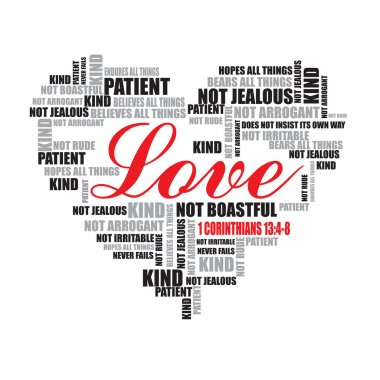 Love typography - love, patient, kind