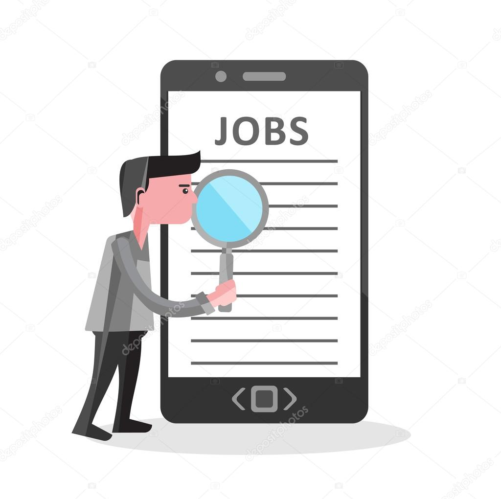 Illustration concept for online job Search on Smartphone
