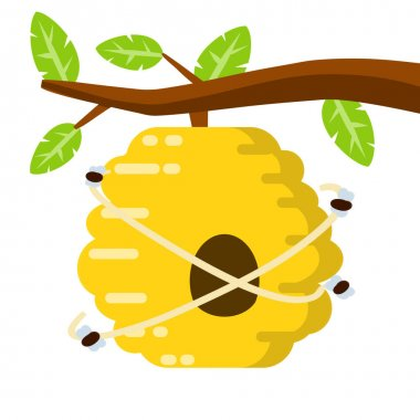 Hive. Yellow beehive. House of wasp and insect on tree. Element of nature and forests. Honey production. Branch with leaves. Flat cartoon illustration icon