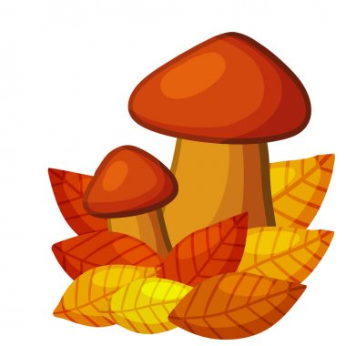 Mushrooms. Autumn element of forest and nature. Natural food. Large and small cep. Red and orange leaves. Detail for background of child drawing. Cartoon illustration icon