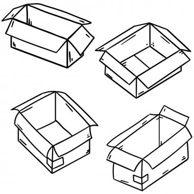 Box. Set of cardboard containers. Objects for packing and moving. Empty package. Parcel and mail. Hand drawn illustration icon