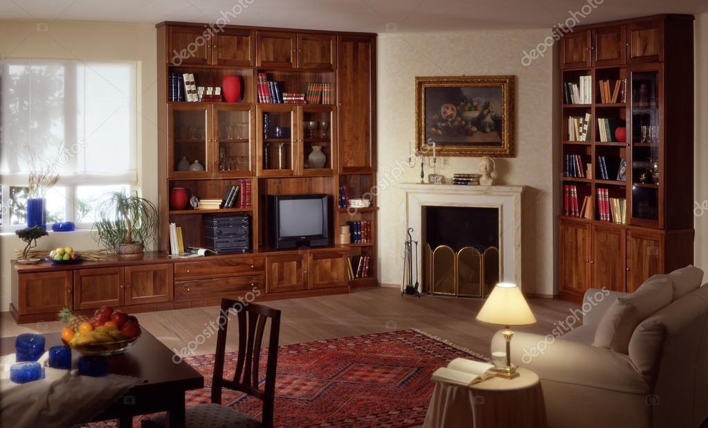Woonkamer Met Bibliotheek : Woonkamer met bibliotheek omgeving u2014 stockfoto © oscaro #98852618