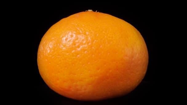 Close up mandarin rotates on a black background