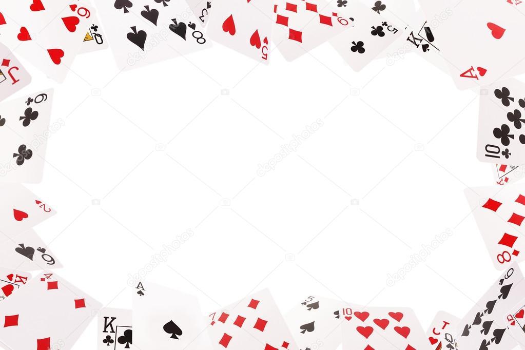 rahmen von spielkarten auf wei em hintergrund stockfoto 45arseiy 106423168. Black Bedroom Furniture Sets. Home Design Ideas