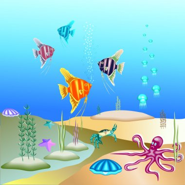 Vector illustration of the underwater world and its inhabitants.