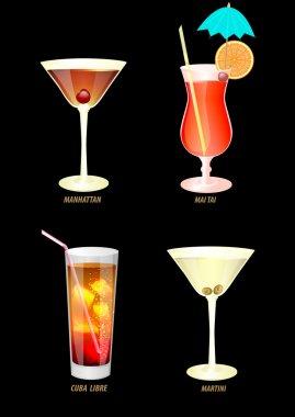 illustration of popular cocktails on a dark background.
