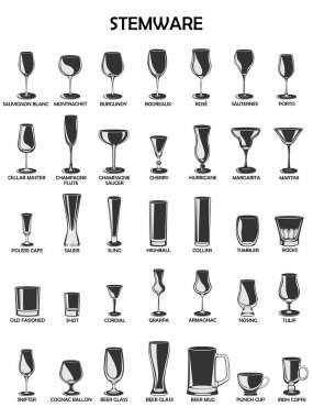 Stemware set,vector illustration on a white background.A collect