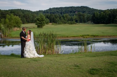 Bride and groom at an outdoor venue