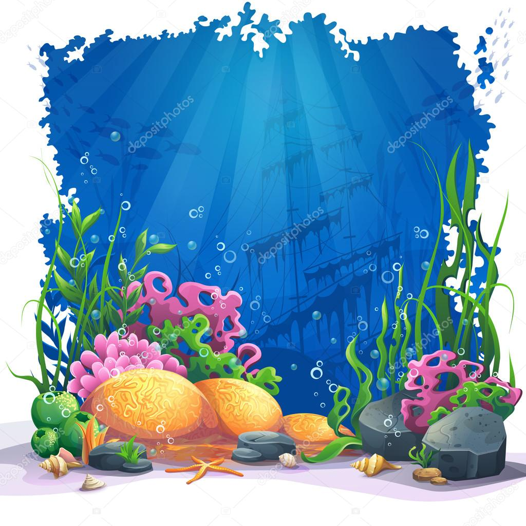 Underwater World With Coral Reef