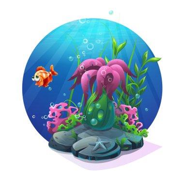 Marine life on the sandy bottom of the ocean