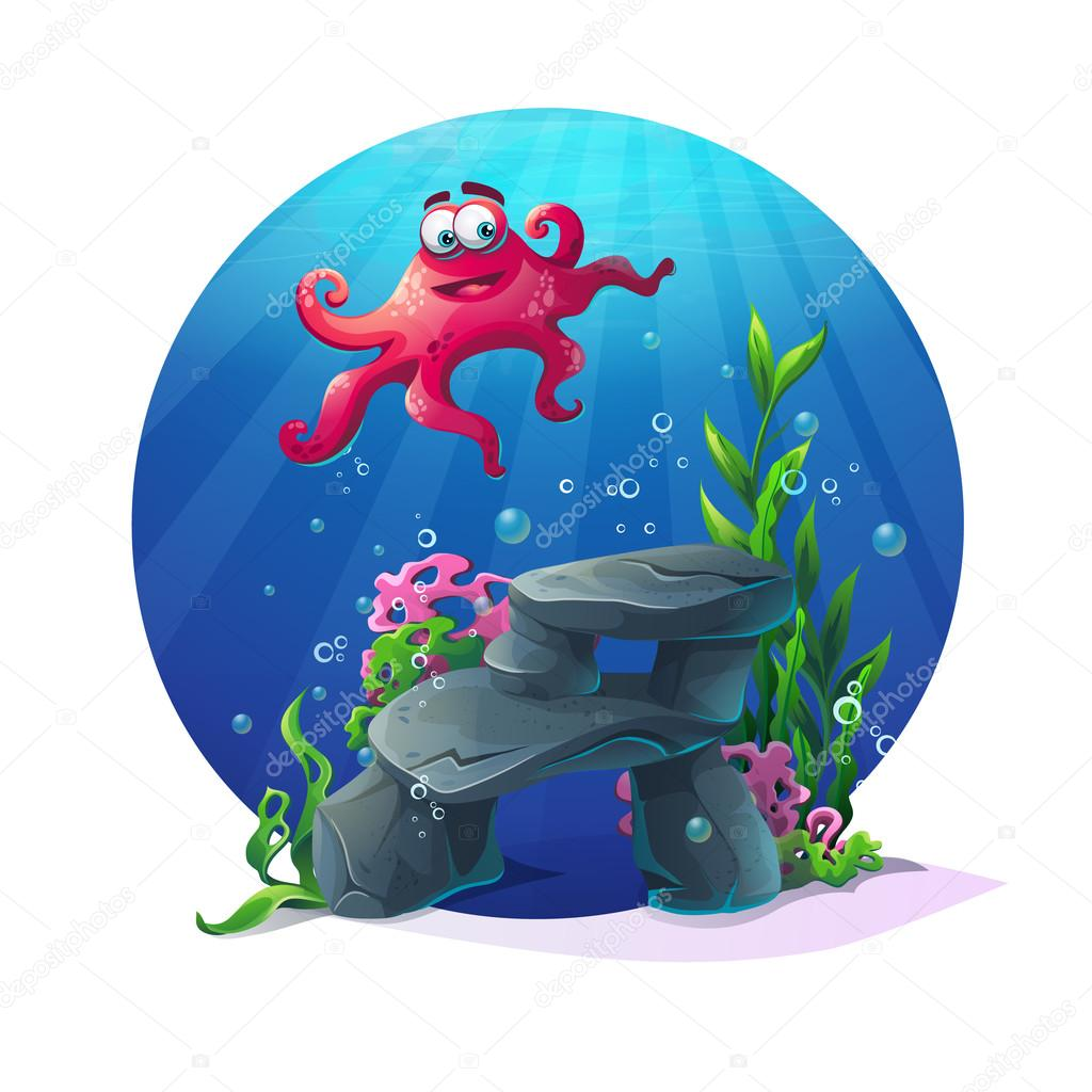 Underwater cartoon comic octopus on rocks in ocean